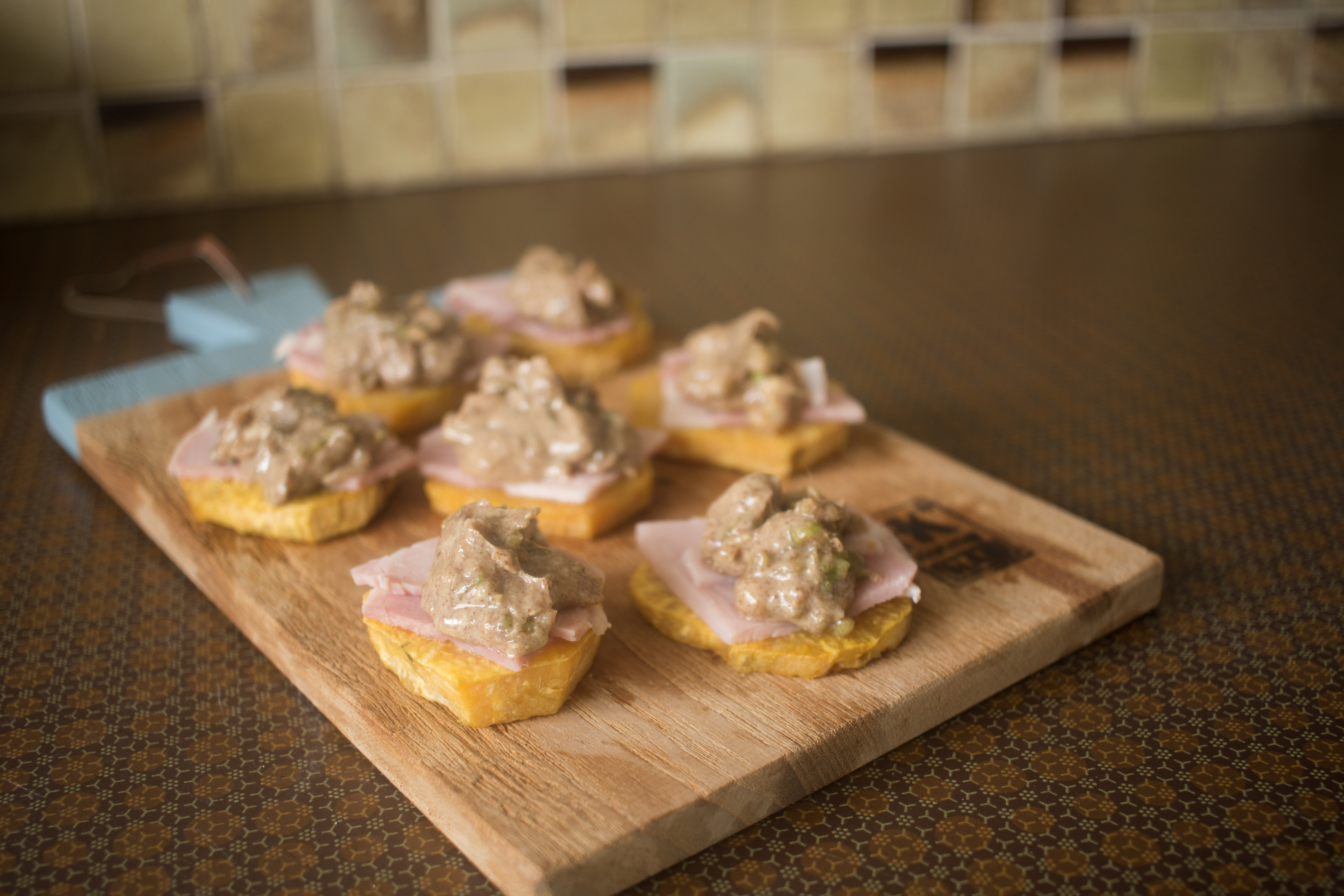 sweet potatoe, ham, peanut butter, spring onion and ginger canapes